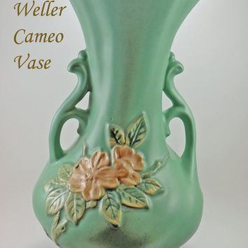 Antique Large Weller Pottery Pristine Double Handle Floral Cameo Vase