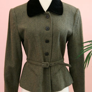 Velvet Collar Olive Green Tweed Belted Woman's Wool Blend Blazer Size Small