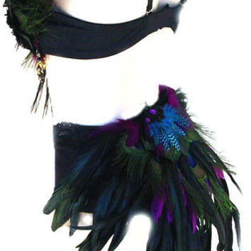 Tribal Peacock Feather Belly Dance BRA & Shorts Set  Custom Made