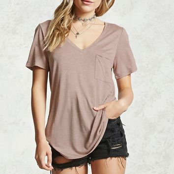 High-Low V-Neck Burnout Tee