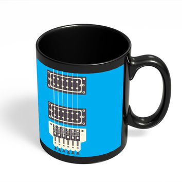 Guitar Close-Up View (Blue) Black Coffee Mug
