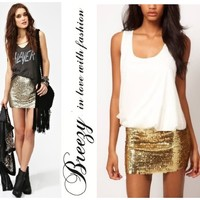 BZ Bling Gold Silver Womens Embellished Sexy Party Sequin Skirt Pencil Hot Pants