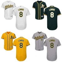 Gray white yellow green Jed Lowrie Authentic Jersey , Men's #8 Oakland Athletics Flexbase Collection