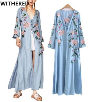 Withered Urban 2017kimono jacket long coat vintage bohemian floral embroidery with sequined long cardigan jacket women plus size