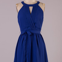 The Night is Young Halter Dress - Royal Blue