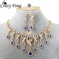 Luxury Fashion African Statement Jewelry Gold-color Water Drop Jewelry Sets For Women