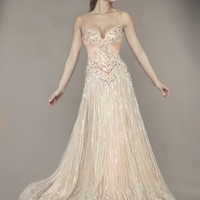 Blush Rhinestone Embellished Tulle Empire Waist Couture Gown - Unique Vintage - Homecoming Dresses, Pinup & Prom Dresses.