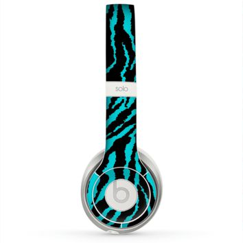 The Vector Teal Zebra Print Skin for the Beats by Dre Solo 2 Headphones