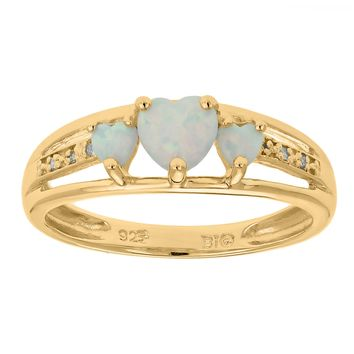 .50 Ct Triple Heart White Opal and .018 cttw Diamond 925 Gold Plated Silver Ring