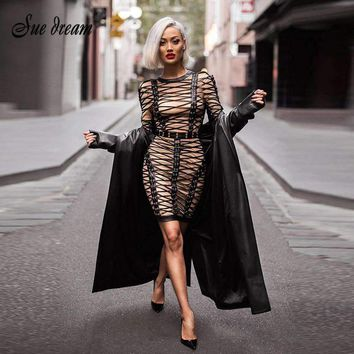Luxe Lace Up Cross Criss Embellished Long Sleeves Celebrity Party Dress  Womens Dresses Mesh Bandage