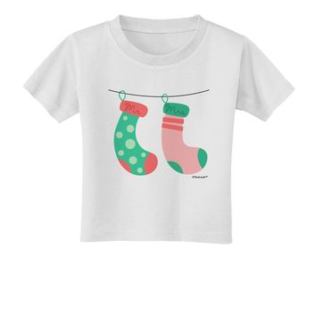 Cute Mr and Mrs Christmas Couple Stockings Toddler T-Shirt by TooLoud