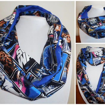 Star Wars Infinity Scarf - Blue Cotton Flannel - Black Blue Star Wars Scarf - Classic Cast Characters - Leah Hans Yoda Chewbacca