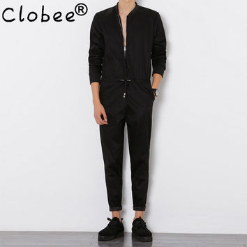 Clobee Mens Jumpsuit Long Sleeved Overalls Male Elegant Cool Overalls Slim Fit Harem Pants Hip-Hop Trousers Black Jumpsuit