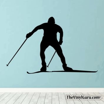 Skiing Wall Decal - Ski Sticker #00022