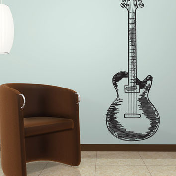 Vinyl Wall Decal Sticker Guitar Doodle #1132