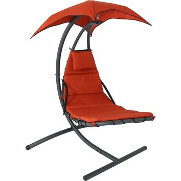 Floating Chaise Lounger Swing Chair with Canopy, 79 Inch Long, 260 Pound Capacity