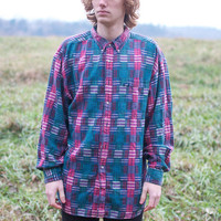 Vintage Men's Lee Plaid Patchwork Button Up Shirt