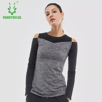 Vansydical Women's Mesh Yoga Shirts Long Sleeve Fitness Sports T-Shirts Sexy Off Shoulder Quick Dry Running Workout Gym Tops