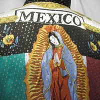 Vintage 1990's Baroque Bomber Jacket Metallic Silk Our Lady of GUADALUPE & Mexican Flag ,100% Metallic Silk , Versace Style inspired,Medium