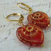 Heart Earrings, Red Gold Heart Earrings, Glass Heart Earrings, Flower Etched Brass Lever Back Earrings