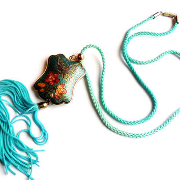Cloisonne Enamel Tassel Pendant Vintage Necklace Double Sided Butterfly Asian Inspired Blue Cord Flower Floral Spring Easter