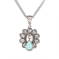 Turquoise Crystal Peacock Necklace