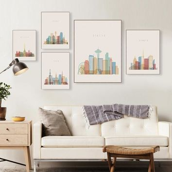 Colorful Modern Famous City Paris New York Poster Nordic Living Room Wall Art Print Painting Home Decor Canvas Painting Custom