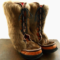 Vintage genuine fur boots Reindeer fur boots Finnish boots Mukluk Boots Winter Snow Boots Lace Up Ankle boots Scandinavian boots