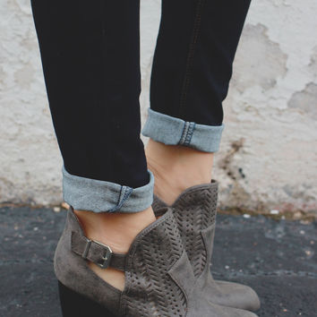 Walk the Line Booties - Grey