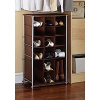 Walmart: Mainstays Shoe and Boot Rack, Silver/Brown