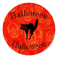 Halloween Cat - Classic Round Sticker