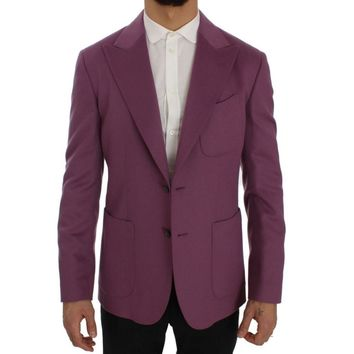 Dolce & Gabbana Purple Cashmere Slim Fit Blazer Jacket