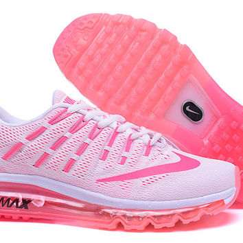 """NIKE"" Trending Fashion Casual Sports Shoes AirMax Toe Cap hook section knited White pink soles"