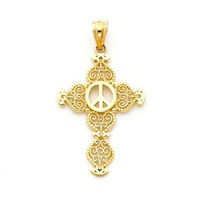 14K Yellow Gold Peace Cross Pendant, Cross Pendant, Peace Pendant, Cross Jewelry, Peace Jewelry, Religious Jewelry, Faith Jewelry