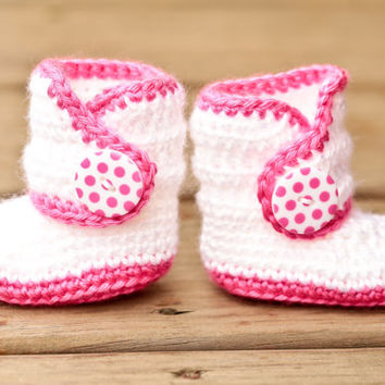 Crochet Baby Booties - Pink and White Baby Shoes - Baby Booties Baby Boots Crib Shoes- Pink Polka Dot - UGG Inspired