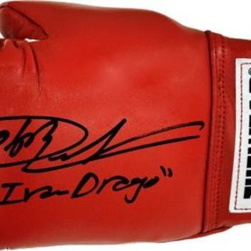 """Dolph Lundgren Signed Autographed """"Ivan Drago"""" Tuf Wear Red Boxing Gloves (ASI COA)"""