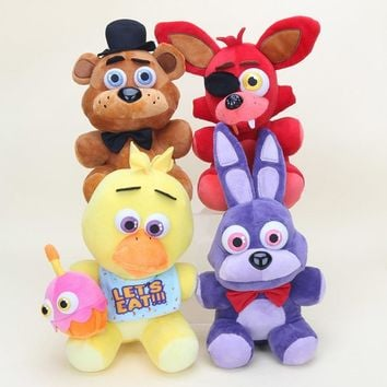 25cm  At   Plush Doll Freddy Bear Foxy Chica Bonnie stuffed Plush Toys Kid Children Dolls Kids Gift