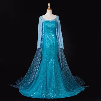 Adult Queen Princess Elsa Halloween Dress Costume Cosplay Party Dress halloween costumes for women