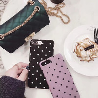 Retro Small Polka dot Case for iPhone 7 7plus black pink Fundas for iPhone6plus 6 6s 6splus Simple Case Glossy Shiny Cover -0318