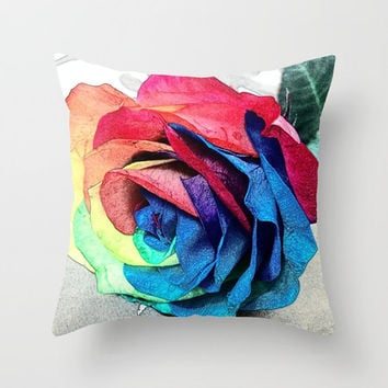 Beautiful indoor pillow Rainbow rose pillow Colorful pillow Edited picture of rainbow rose Sandy effects