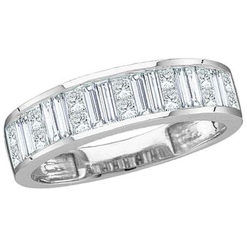 14kt White Gold Women's Baguette & Princess Diamond Wedding Anniversary Band 1.00 Cttw - FREE Shipping (US/CAN) Size 5