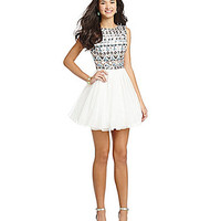 B. Darlin V-Back Sequin-Top Dress - Off White/Multi