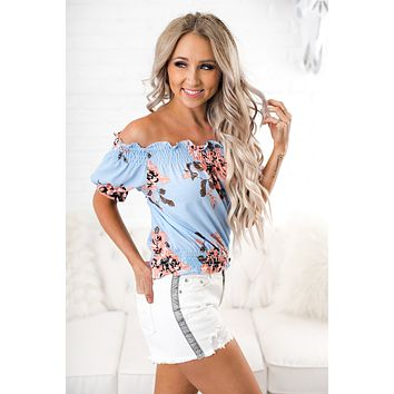 All Mine Floral Top (Blue)