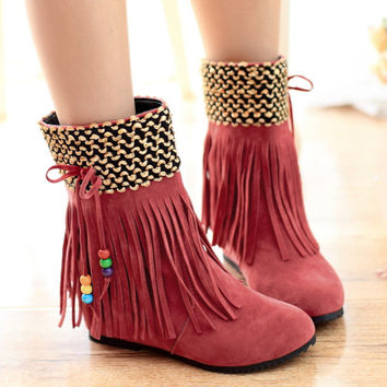 Beads Tassel Ankle Boots Flats Women Wedge Shoes 2853