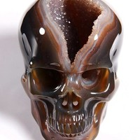 "Huge Geode 5.0"" Agate Carved Crystal Skull"