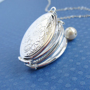 Large silver oval locket with pearl