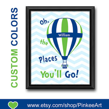 custom baby name oh the places youll go dr seuss quote chevron boy nursery art kids playroom art inspirational nursery gift hot air balloon