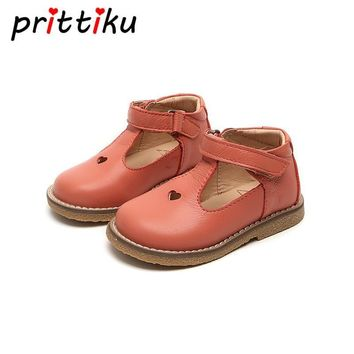 Spring 2018 Baby Toddler Girls Vintage T-Strap Flats Little Kids Genuine Leather Mary Jane Children Pink White Black Dress Shoes
