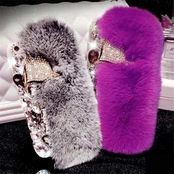 For iPhone 6 6S 7 8 Plus X Luxury Girl's Fashion Plush Phone Case Rhinestone Cute Fox Rabbit Bunny Fur soft Rubber Back cover