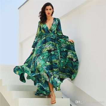 2019 Brand women dress Long Sleeve Hot selling Tropical Beach Vintage Maxi Dresses Boho Casual V Neck Lace Tunic Draped Plus Size Dress